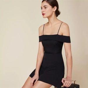 Reformation Off Shoulder Black Mini Dress Size 4